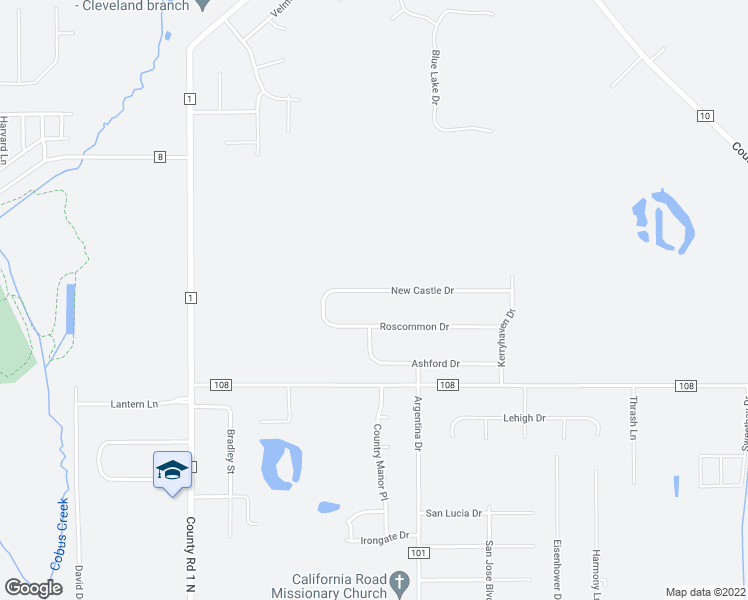 map of restaurants, bars, coffee shops, grocery stores, and more near 29854 Newcastle Drive in Elkhart
