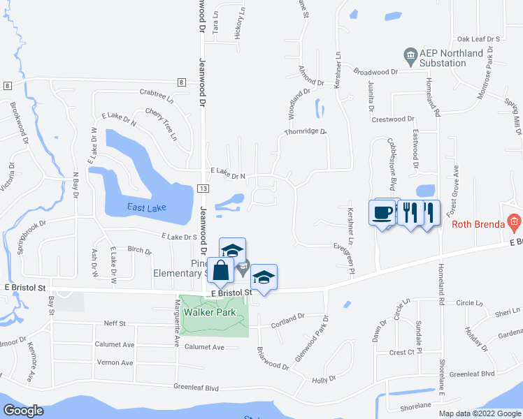 map of restaurants, bars, coffee shops, grocery stores, and more near 3615 Beechwood Court in Elkhart