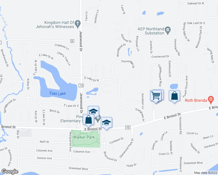 map of restaurants, bars, coffee shops, grocery stores, and more near 3631 Kirkwood Court in Elkhart