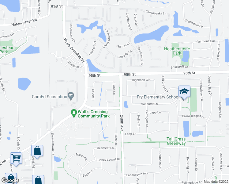 map of restaurants, bars, coffee shops, grocery stores, and more near Lobo Lane in Naperville