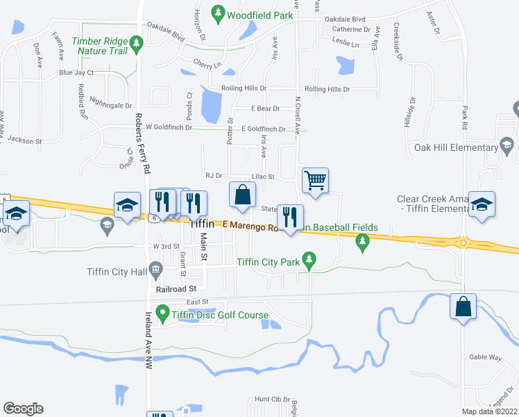 map of restaurants, bars, coffee shops, grocery stores, and more near 591 State Street in Tiffin