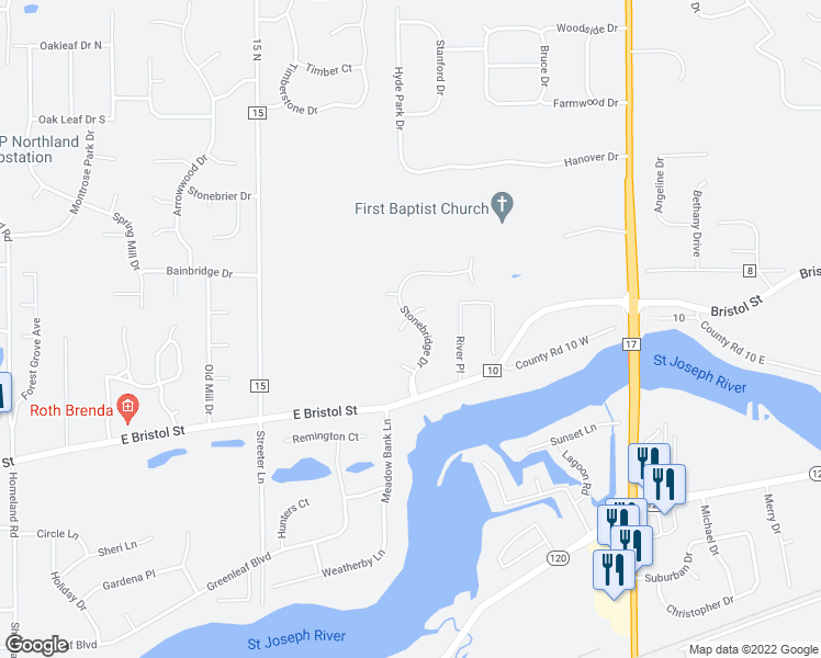 map of restaurants, bars, coffee shops, grocery stores, and more near 54153 Stonebridge Drive in Elkhart