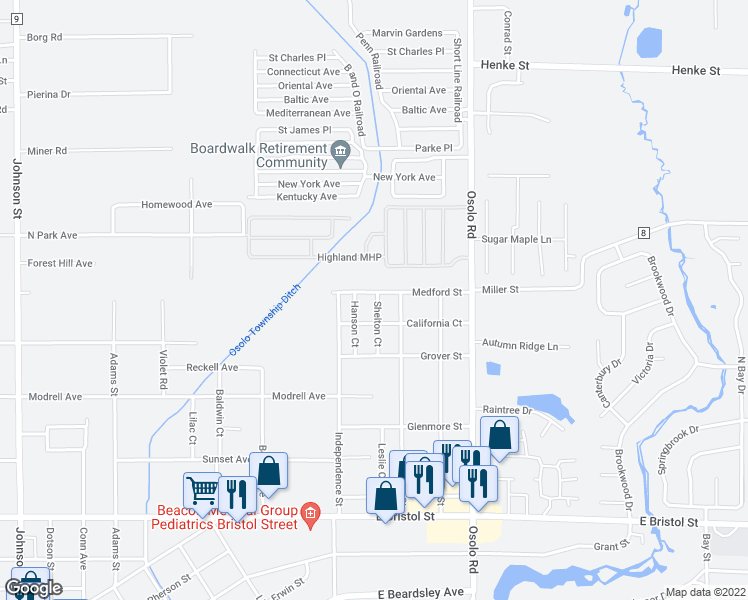 map of restaurants, bars, coffee shops, grocery stores, and more near 25224 Medford Street in Elkhart