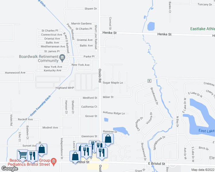 map of restaurants, bars, coffee shops, grocery stores, and more near 2001 Sugar Maple Lane in Elkhart
