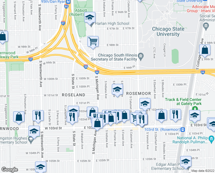 map of restaurants, bars, coffee shops, grocery stores, and more near 10031 South Indiana Avenue in Chicago