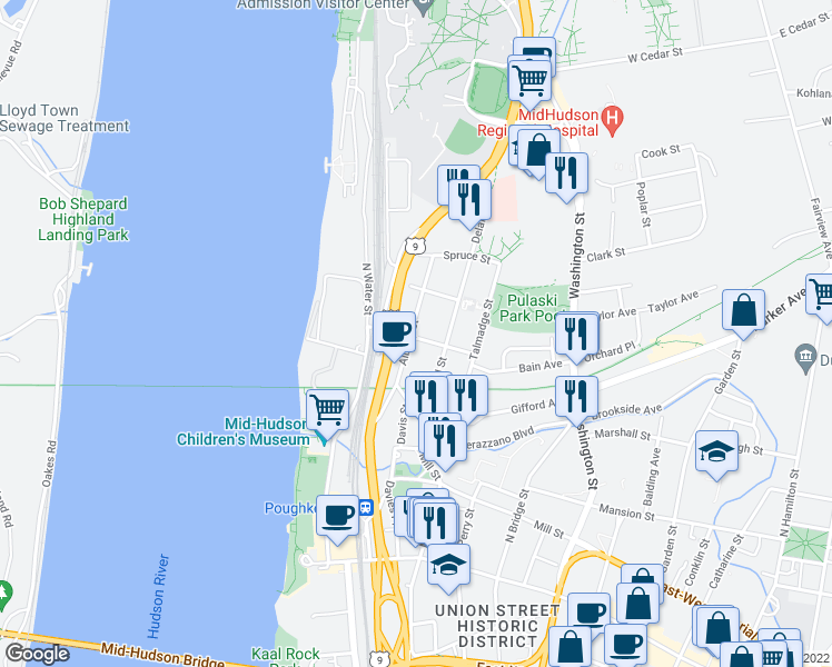 map of restaurants, bars, coffee shops, grocery stores, and more near 71 Albany Street in Poughkeepsie