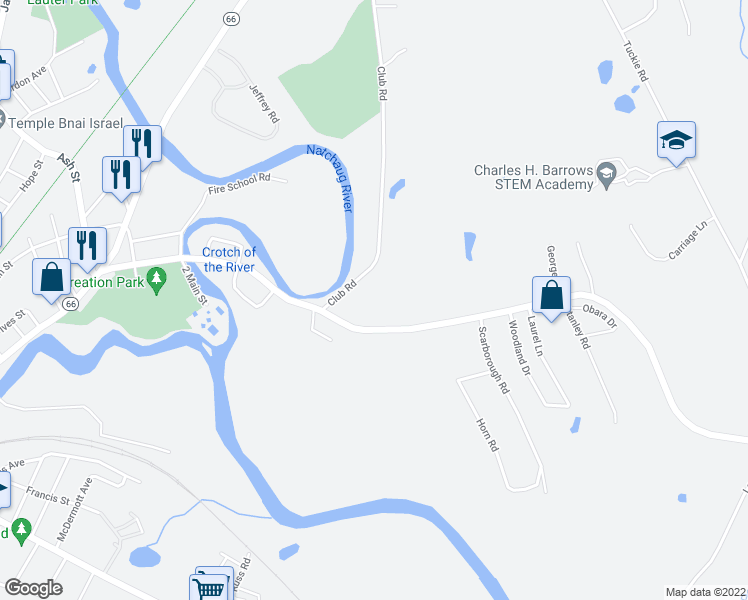 map of restaurants, bars, coffee shops, grocery stores, and more near 14 Club Road in Windham