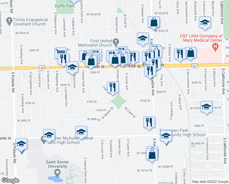 map of restaurants, bars, coffee shops, grocery stores, and more near 9629-9699 South Homan Avenue in Evergreen Park