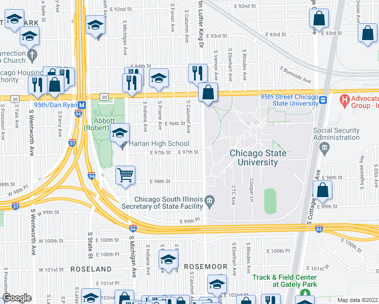 map of restaurants, bars, coffee shops, grocery stores, and more near South Calumet Avenue & East 97th Street in Chicago