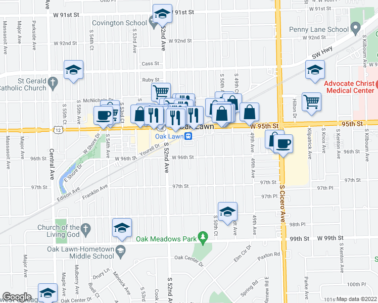 map of restaurants, bars, coffee shops, grocery stores, and more near 5100 West 96th Street in Oak Lawn