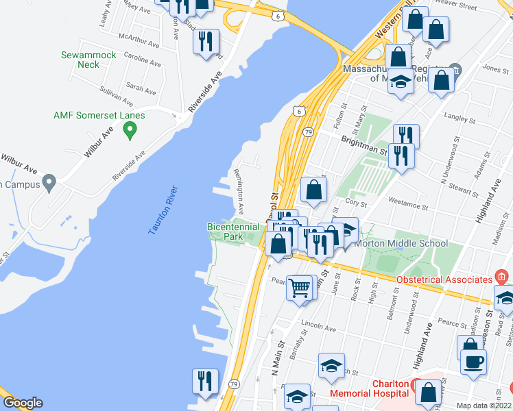 map of restaurants, bars, coffee shops, grocery stores, and more near 1082 Davol Street in Fall River