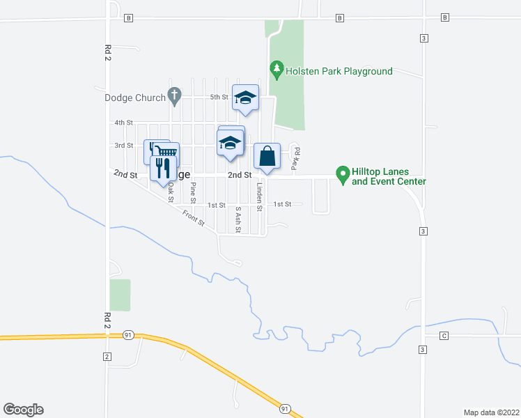 map of restaurants, bars, coffee shops, grocery stores, and more near 100 Linden Street in Dodge
