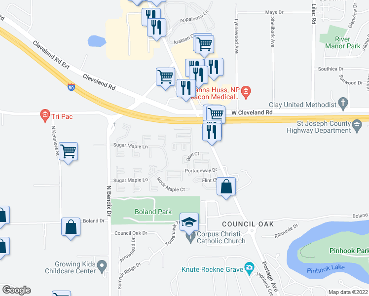 map of restaurants, bars, coffee shops, grocery stores, and more near 2676 Trader Court East in South Bend