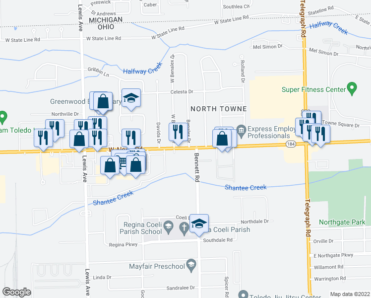 map of restaurants, bars, coffee shops, grocery stores, and more near 521 Alexis Road in Toledo