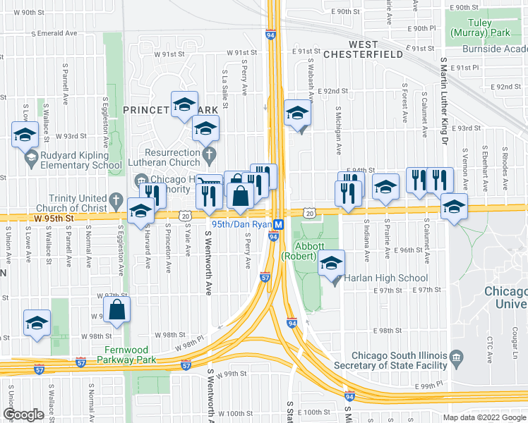 map of restaurants, bars, coffee shops, grocery stores, and more near 9434 South Lafayette Avenue in Chicago