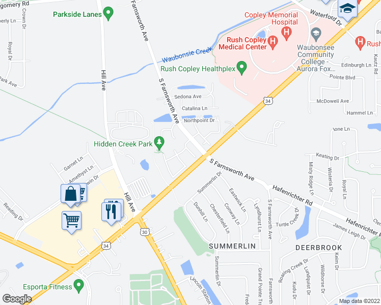 map of restaurants, bars, coffee shops, grocery stores, and more near 1847 Clubhouse Drive in Aurora