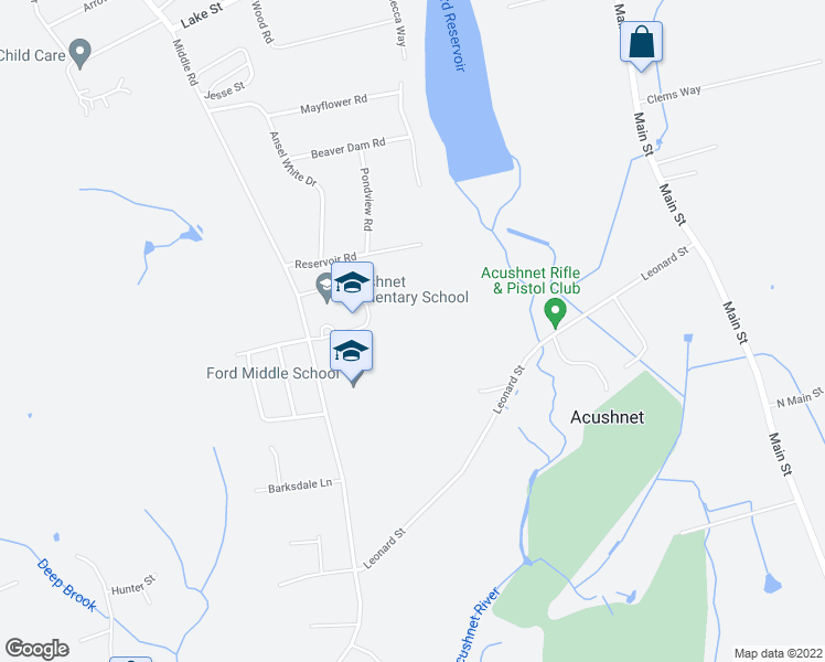 map of restaurants, bars, coffee shops, grocery stores, and more near 40 Reservoir Road in Acushnet