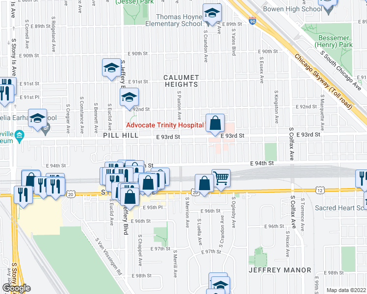 map of restaurants, bars, coffee shops, grocery stores, and more near 9321 South Paxton Avenue in Chicago