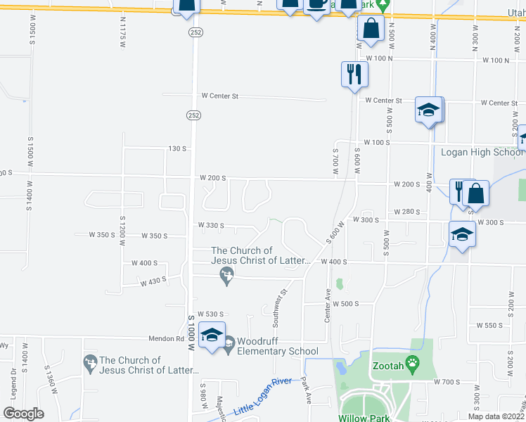 map of restaurants, bars, coffee shops, grocery stores, and more near 295 Willow Drive in Logan