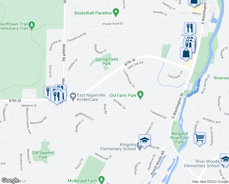 map of restaurants, bars, coffee shops, grocery stores, and more near 294 Saw Mill Road in Naperville