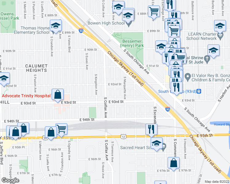 map of restaurants, bars, coffee shops, grocery stores, and more near 9236 South Saginaw Avenue in Chicago