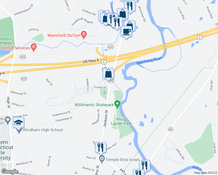 map of restaurants, bars, coffee shops, grocery stores, and more near Rte 195 & Storrs Rd & Foster Dr in Mansfield
