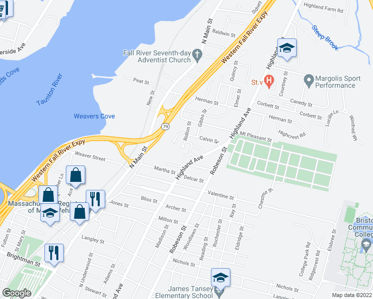 map of restaurants, bars, coffee shops, grocery stores, and more near 1800 Highland Avenue in Fall River