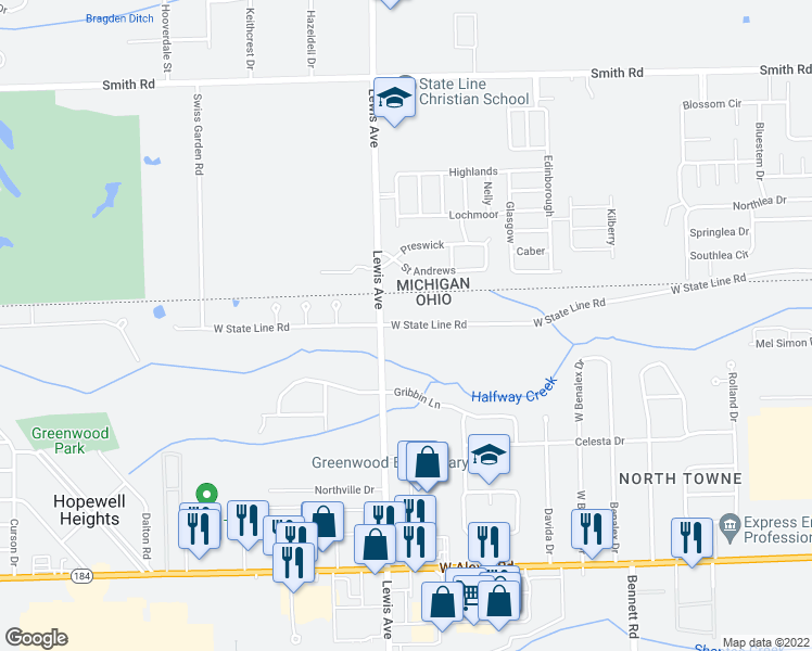 map of restaurants, bars, coffee shops, grocery stores, and more near 945 West State Line Road in Toledo