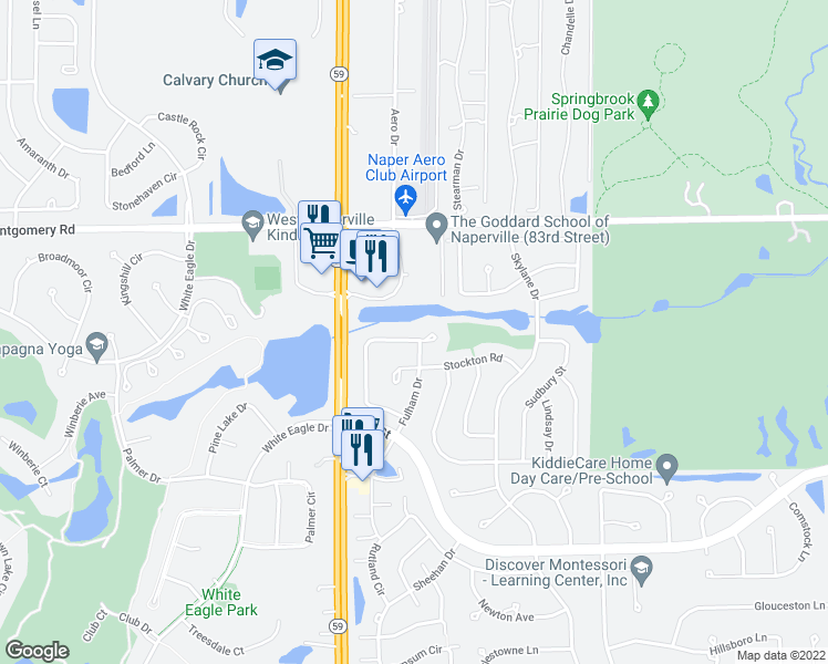 map of restaurants, bars, coffee shops, grocery stores, and more near 2907 Kentshire Circle in Naperville