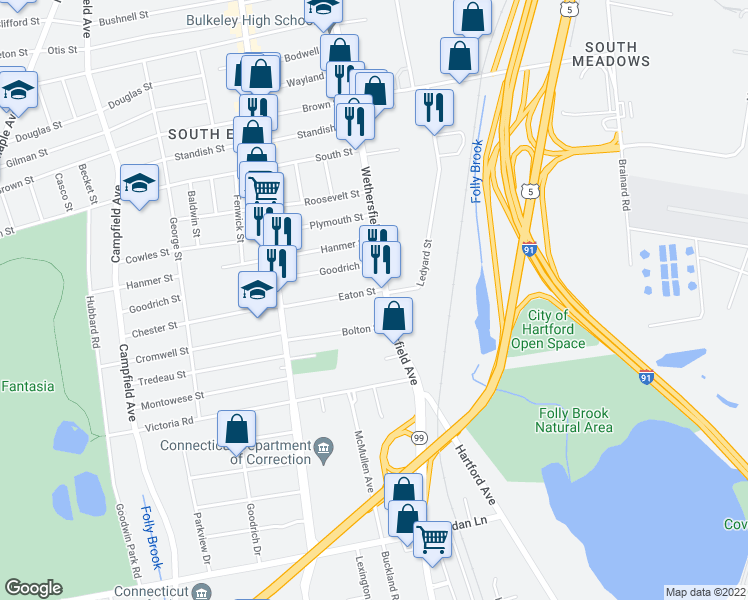 map of restaurants, bars, coffee shops, grocery stores, and more near 901 Wethersfield Avenue in Hartford