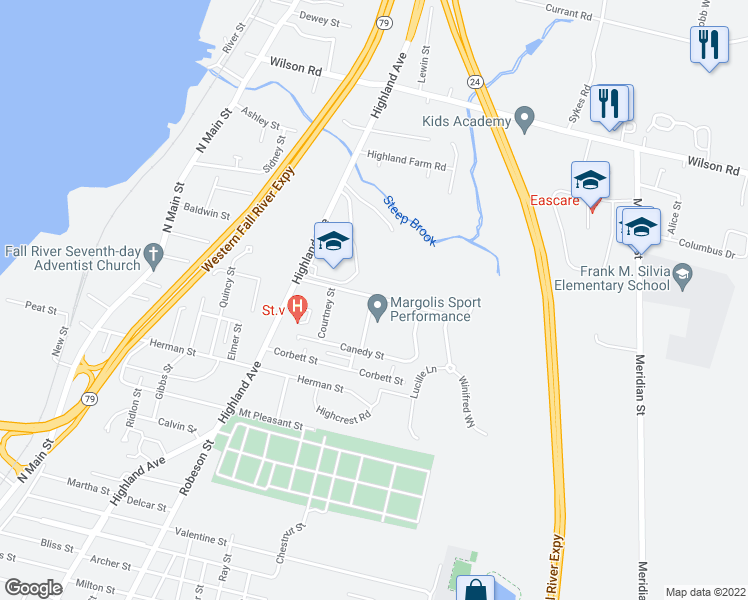 map of restaurants, bars, coffee shops, grocery stores, and more near 25 Courtney Street in Fall River