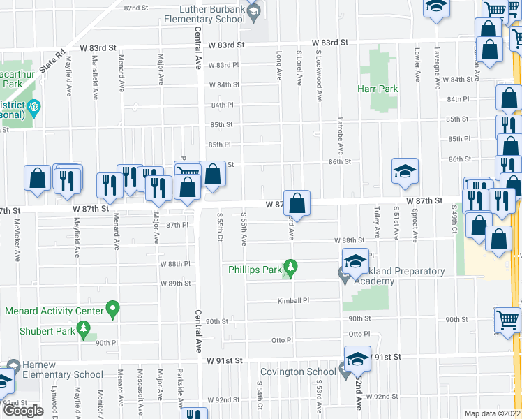 map of restaurants, bars, coffee shops, grocery stores, and more near 5407 West 87th Street in Oak Lawn