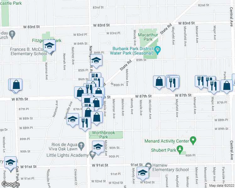 map of restaurants, bars, coffee shops, grocery stores, and more near 6226 W 87th St in Burbank