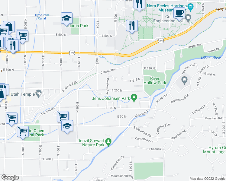 map of restaurants, bars, coffee shops, grocery stores, and more near 198 Preston Avenue in Logan