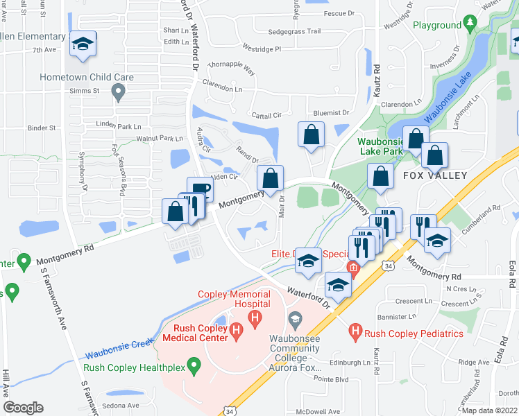 map of restaurants, bars, coffee shops, grocery stores, and more near 2052 Fox Pointe Drive in Aurora
