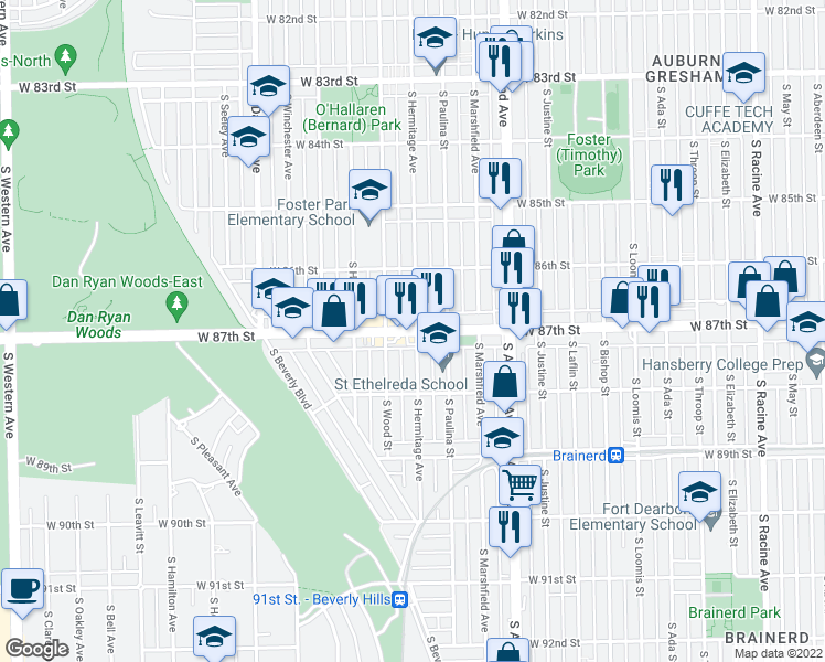 map of restaurants, bars, coffee shops, grocery stores, and more near 1750 West 87th Street in Chicago