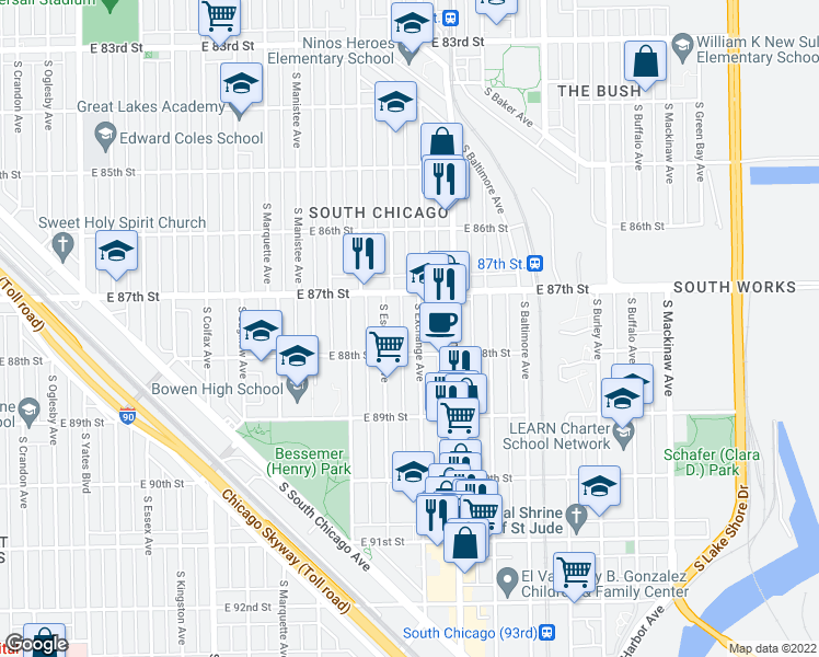 map of restaurants, bars, coffee shops, grocery stores, and more near 8734 South Exchange Avenue in Chicago