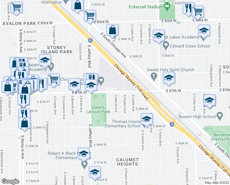 map of restaurants, bars, coffee shops, grocery stores, and more near 8700 South Merrill Avenue in Chicago