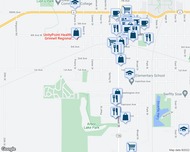 map of restaurants, bars, coffee shops, grocery stores, and more near 506 Center Street in Grinnell
