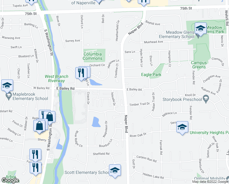 map of restaurants, bars, coffee shops, grocery stores, and more near 1654 Ishnala Drive in Naperville