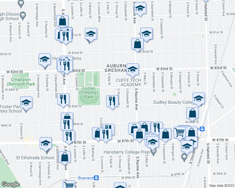 map of restaurants, bars, coffee shops, grocery stores, and more near 8432 South Throop Street in Chicago