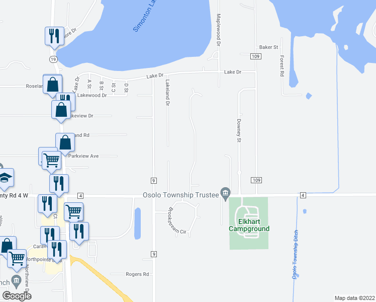 map of restaurants, bars, coffee shops, grocery stores, and more near 51803 Tall Pines Drive in Elkhart