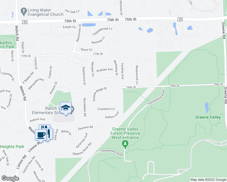 map of restaurants, bars, coffee shops, grocery stores, and more near 1684 Greene Ridge Drive in Naperville