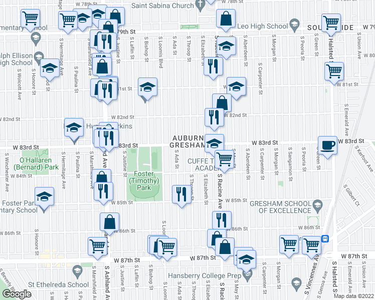 map of restaurants, bars, coffee shops, grocery stores, and more near 8308 South Throop Street in Chicago