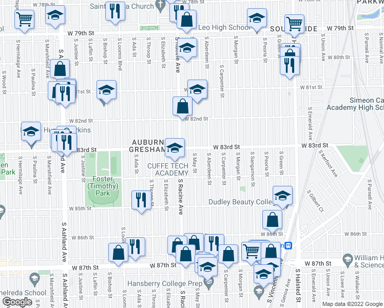 map of restaurants, bars, coffee shops, grocery stores, and more near 8316 South May Street in Chicago