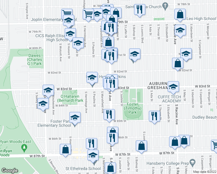 map of restaurants, bars, coffee shops, grocery stores, and more near 1600 West 83rd Street in Chicago