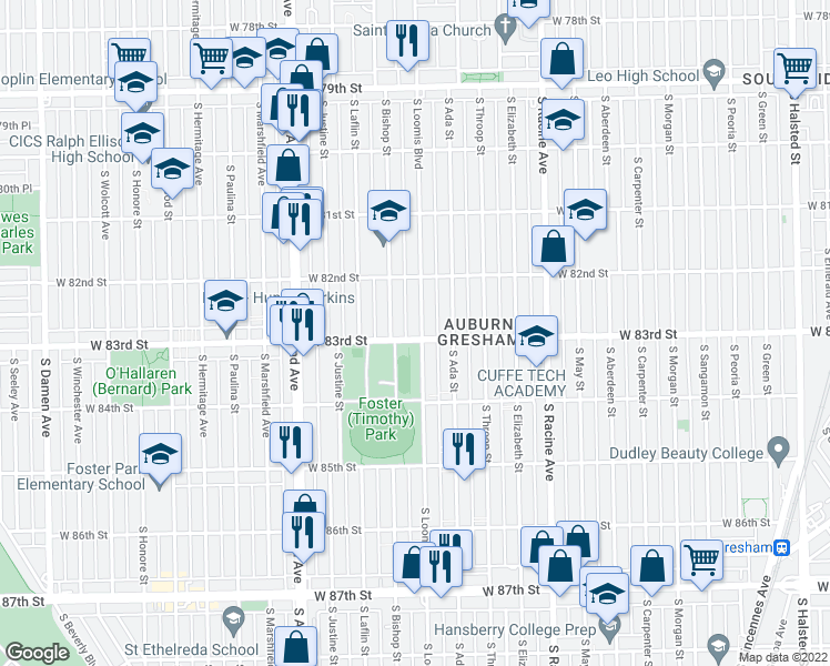 map of restaurants, bars, coffee shops, grocery stores, and more near 8256 South Loomis Boulevard in Chicago