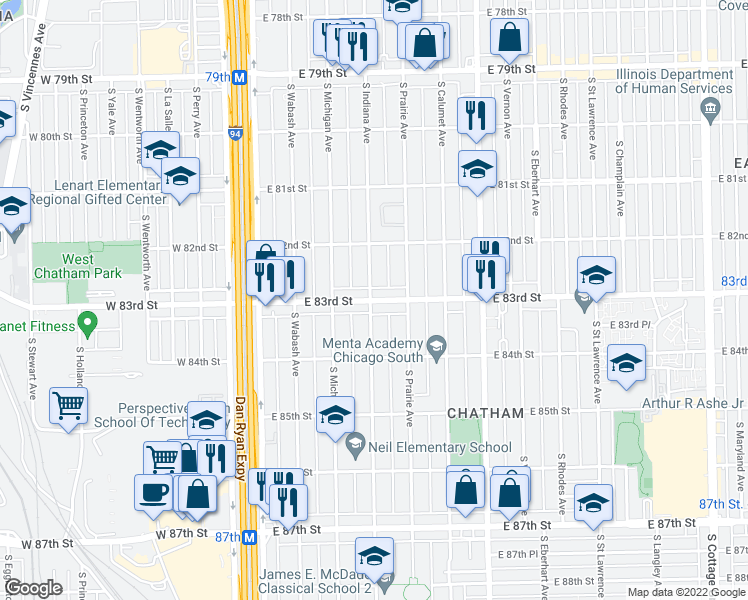 map of restaurants, bars, coffee shops, grocery stores, and more near 202 East 83rd Street in Chicago