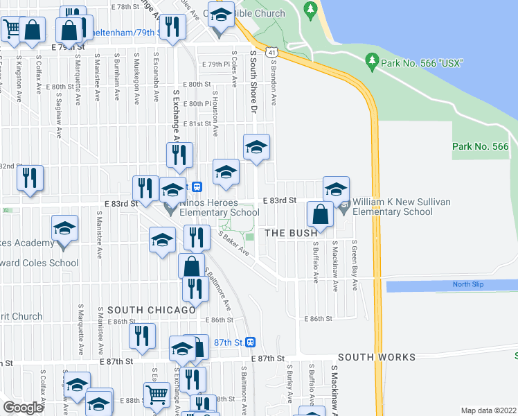 map of restaurants, bars, coffee shops, grocery stores, and more near 8319 South South Shore Drive in Chicago
