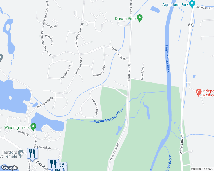map of restaurants, bars, coffee shops, grocery stores, and more near 40 Tunxis Village in Farmington